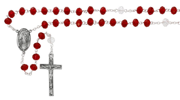 Red Divine Mercy Chaplet with Prayer Card