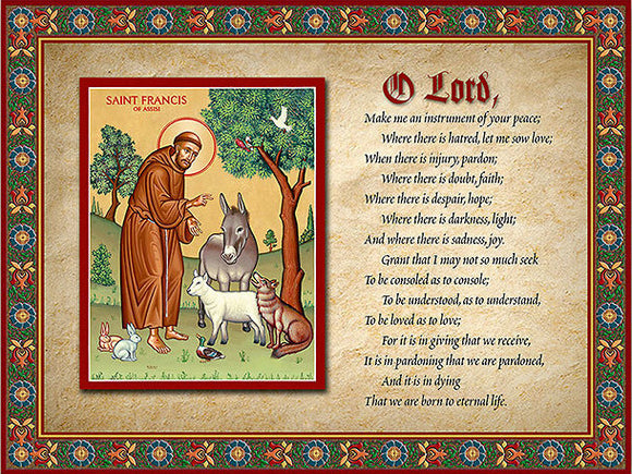 Prayer of St Francis Icon Inspirational Plaque