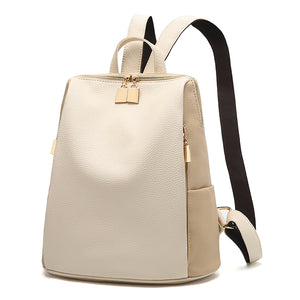 Women's Leather Backpack (Black and White)