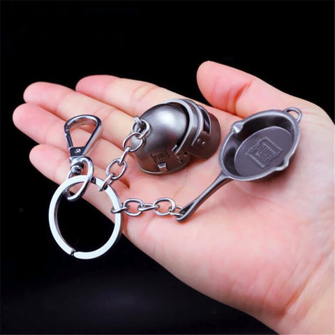 PUBG Pan and Helmet Keychain