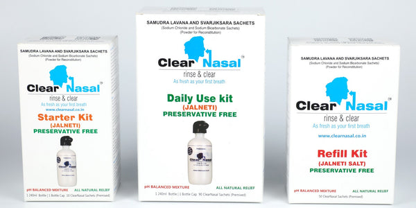 ClearNasal Frontal Sinus Treatment - Jal Neti Family Kit For Sinus Infection