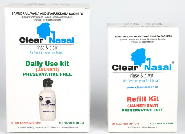 ClearNasal Sinus Congestion kit- Jal Neti Daily Usage Kit(90 Day Kit)