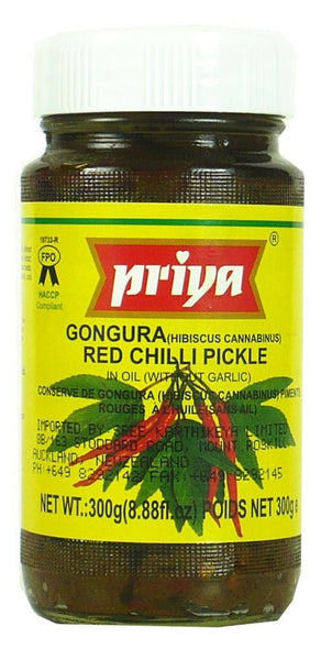Priya Gongura Red Chilli Pickle (without Garlic) 300g