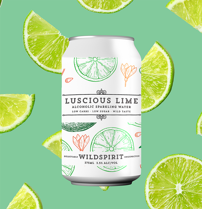 Wildspirit Luscious Lime Alcoholic Sparkling Water - 24 Case