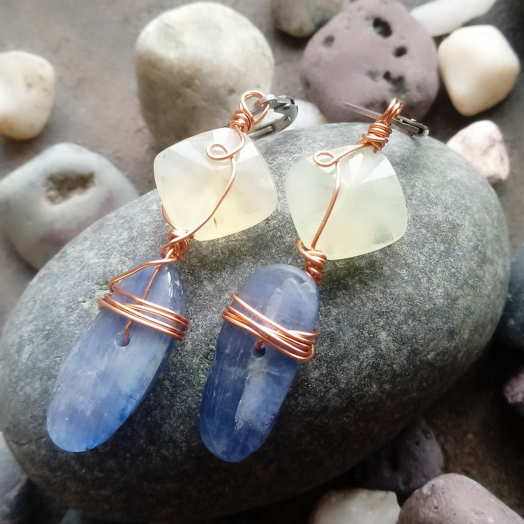 Heart and Soul Prehnite with Blue Kyanite Earrings