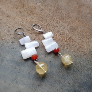 Blue Lace Agate Earrings (with Red Carnelian and Natural Citrine)