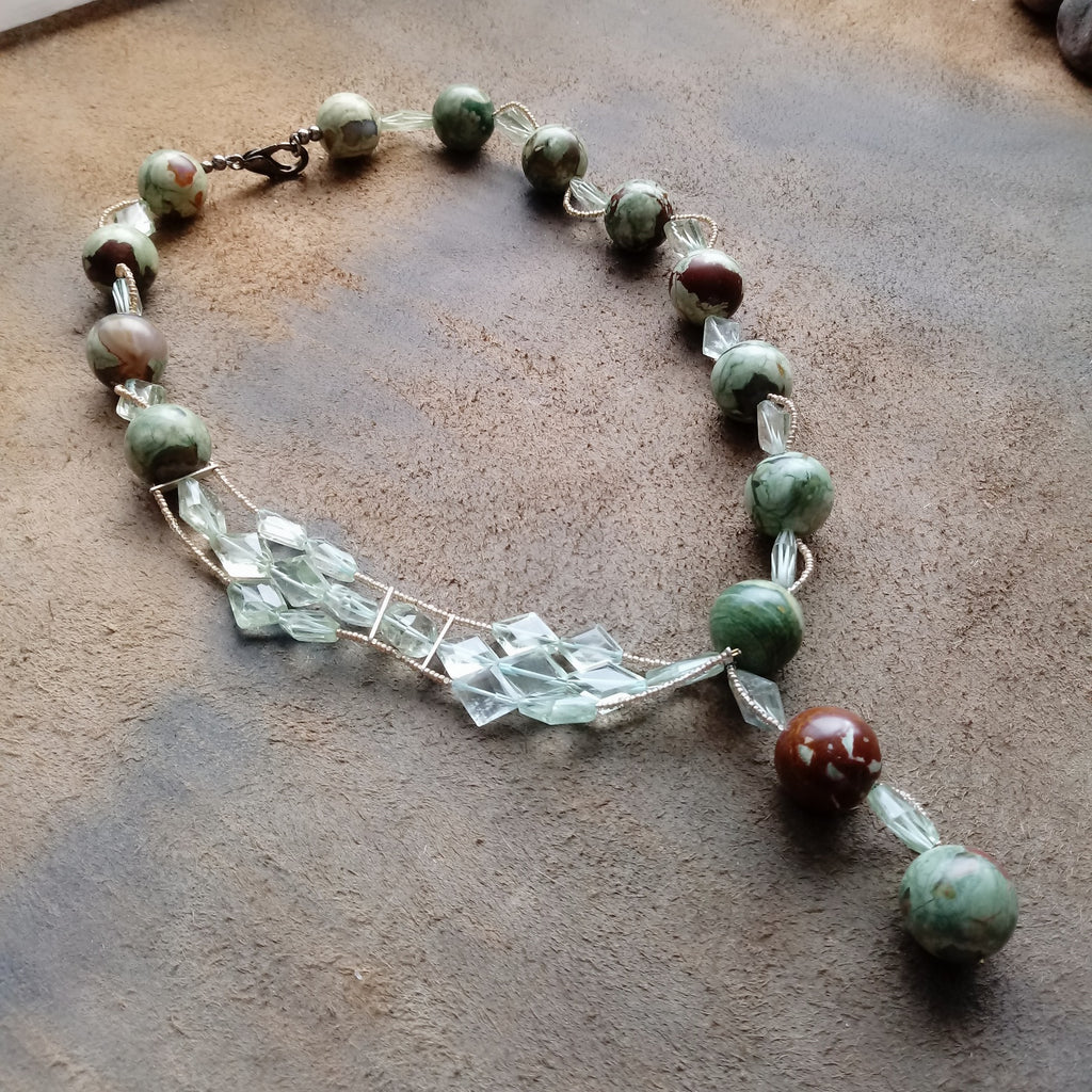 Harmonious Rainforest Jasper and Prasiolite Necklace