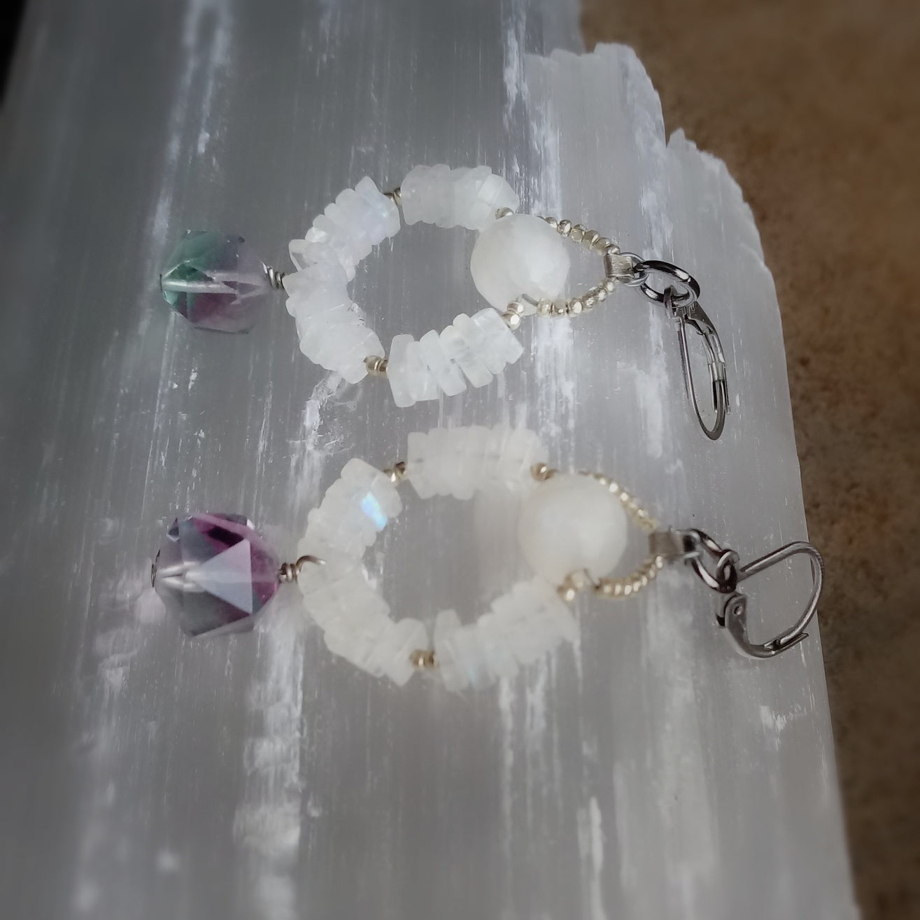 Rainbow Moonstone with Fluorite Earrings