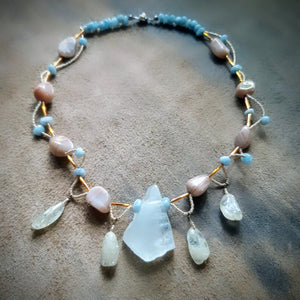 Ocean Treasure for Deep and Serene Illumination - Aquamarine and Peach Moonstone Necklace