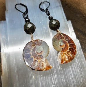 Awesomepants Ammonite Pyrite Earrings