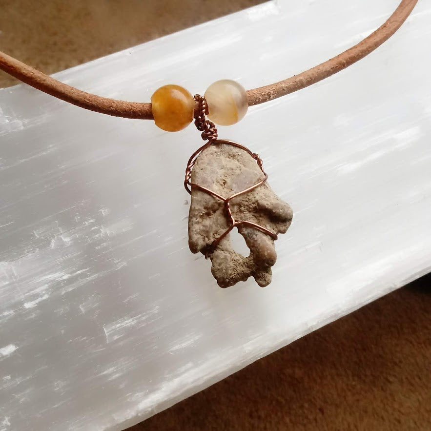 Twice Protected Choker - Natural Hag Stone (shaped like Hamsa) with Yellow Quartz