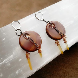 Bouncing Happily Through the Woods! - Rathbunite Jasper and Hematoid Quartz Earrings
