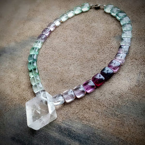 Clear The Path of Your Awesomeness Necklace! - Optical Calcite and Rainbow Fluorite