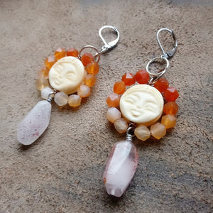 Smiling Sunshines - Carnelian, Bone, and Strawberry Quartz (Lepidocrocite) Earrings