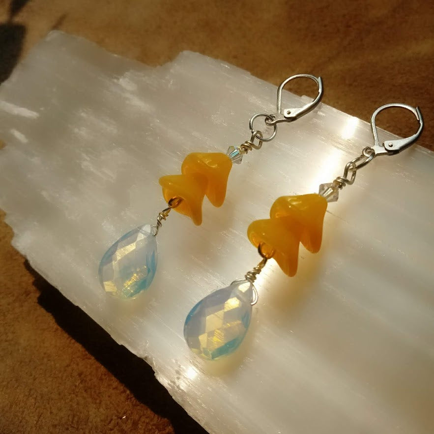 Sundrop Brilliance Czech Glass Flower Earrings