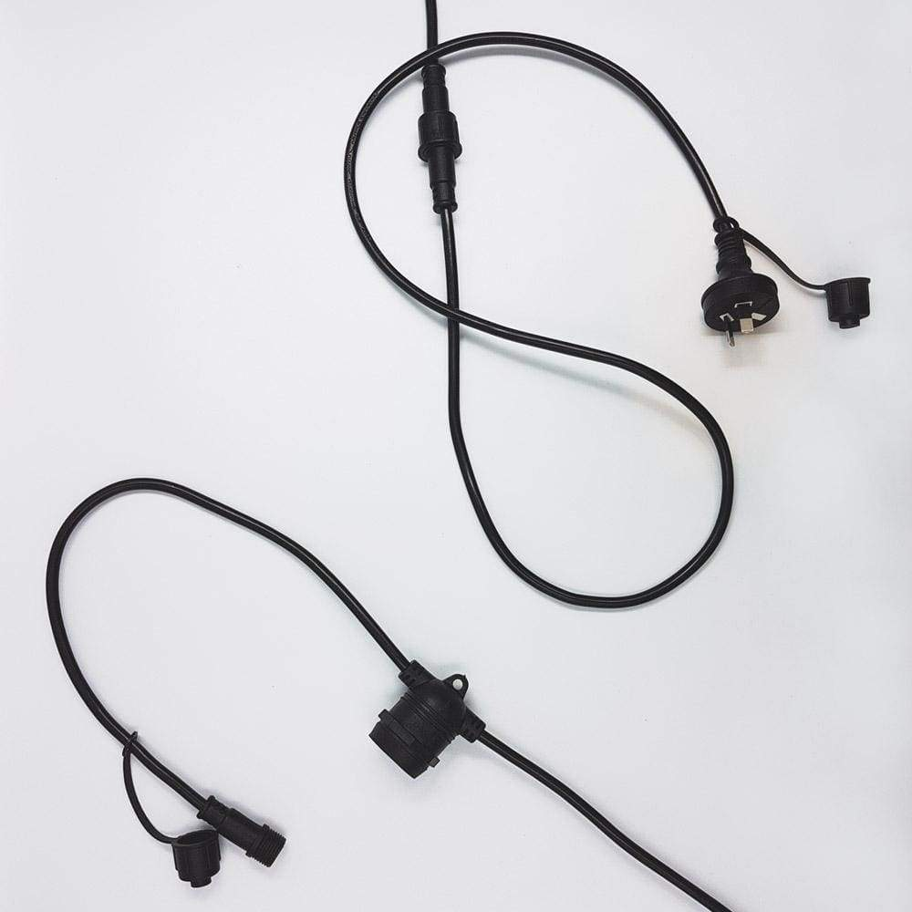 10m Black Festoon String Lighting 10 Bulb 240V (without bulbs) Festoon String LiquidLEDs Lighting