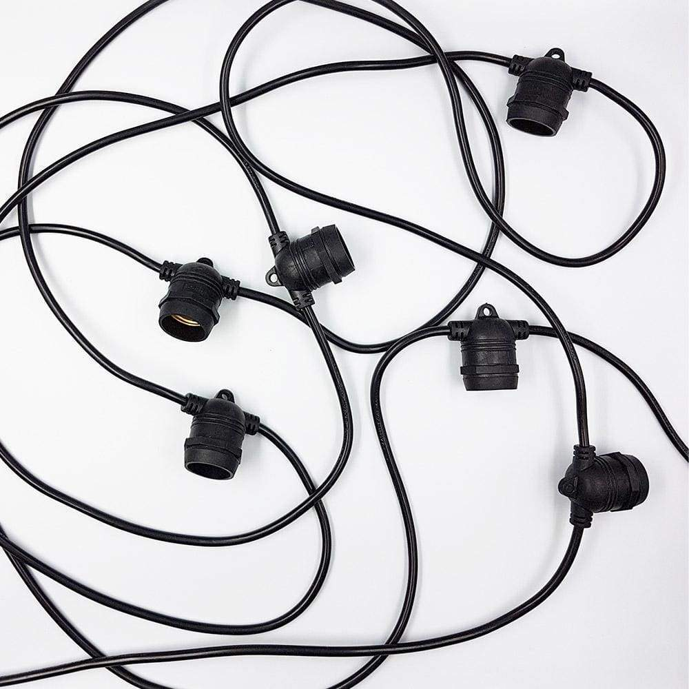 20m Black Festoon String Light 20 Bulb 240V (without bulbs) Festoon String LiquidLEDs Lighting