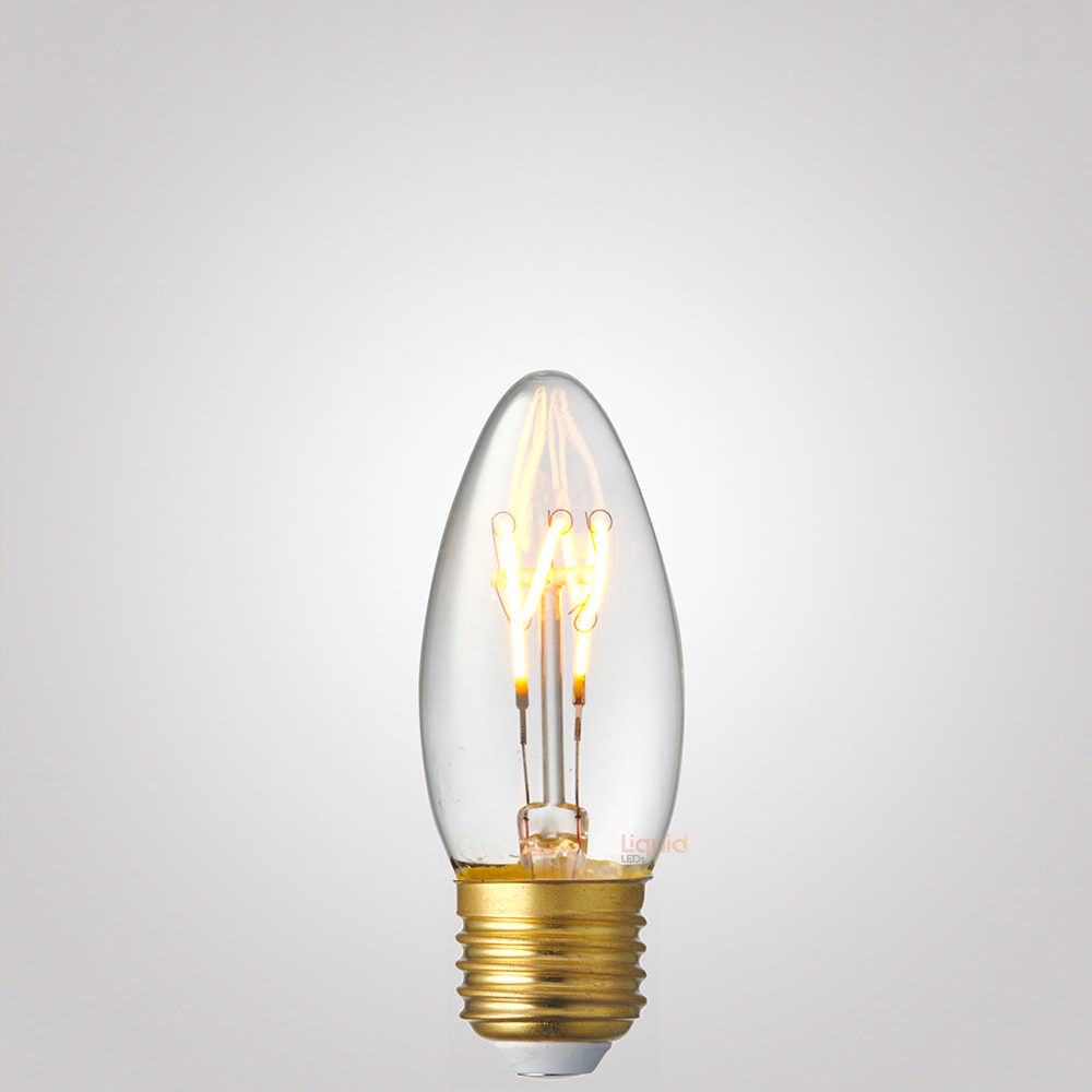 2W Candle Dimmable Tre Loop LED Filament Bulb (E27) in Extra Warm White