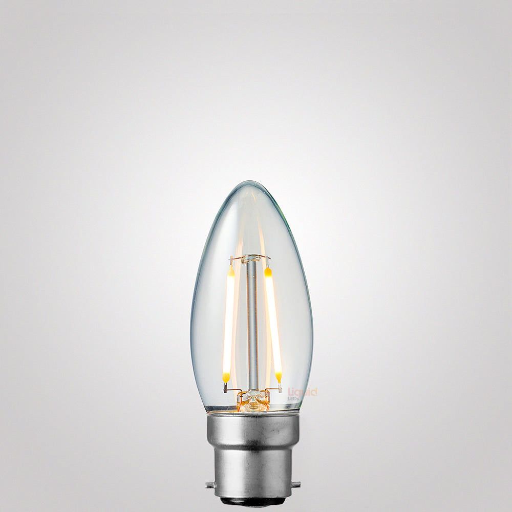 2 Watt Candle Dimmable LED Filament Bulb (B22) Candle Bulbs LiquidLEDs Lighting
