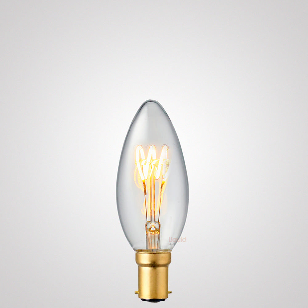 2W Candle Dimmable Tre Loop LED Bulb (B15) in Extra Warm White