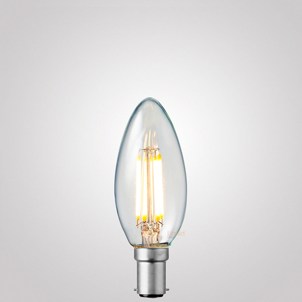 4W Candle Dimmable LED Filament Bulb (B15) Clear in Warm White