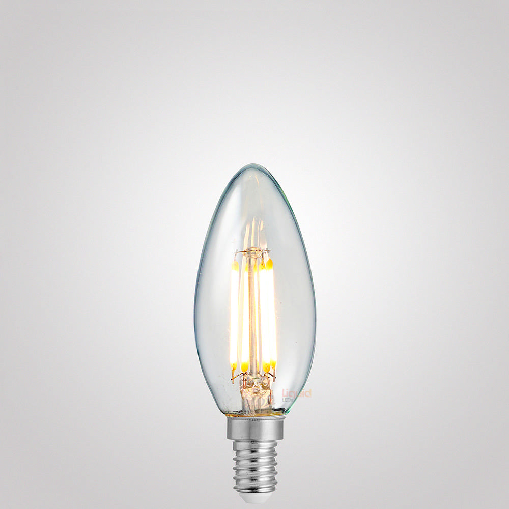 4 Watt Candle Dimmable LED Filament Bulb (E14) Clear Candle Bulbs LiquidLEDs Lighting