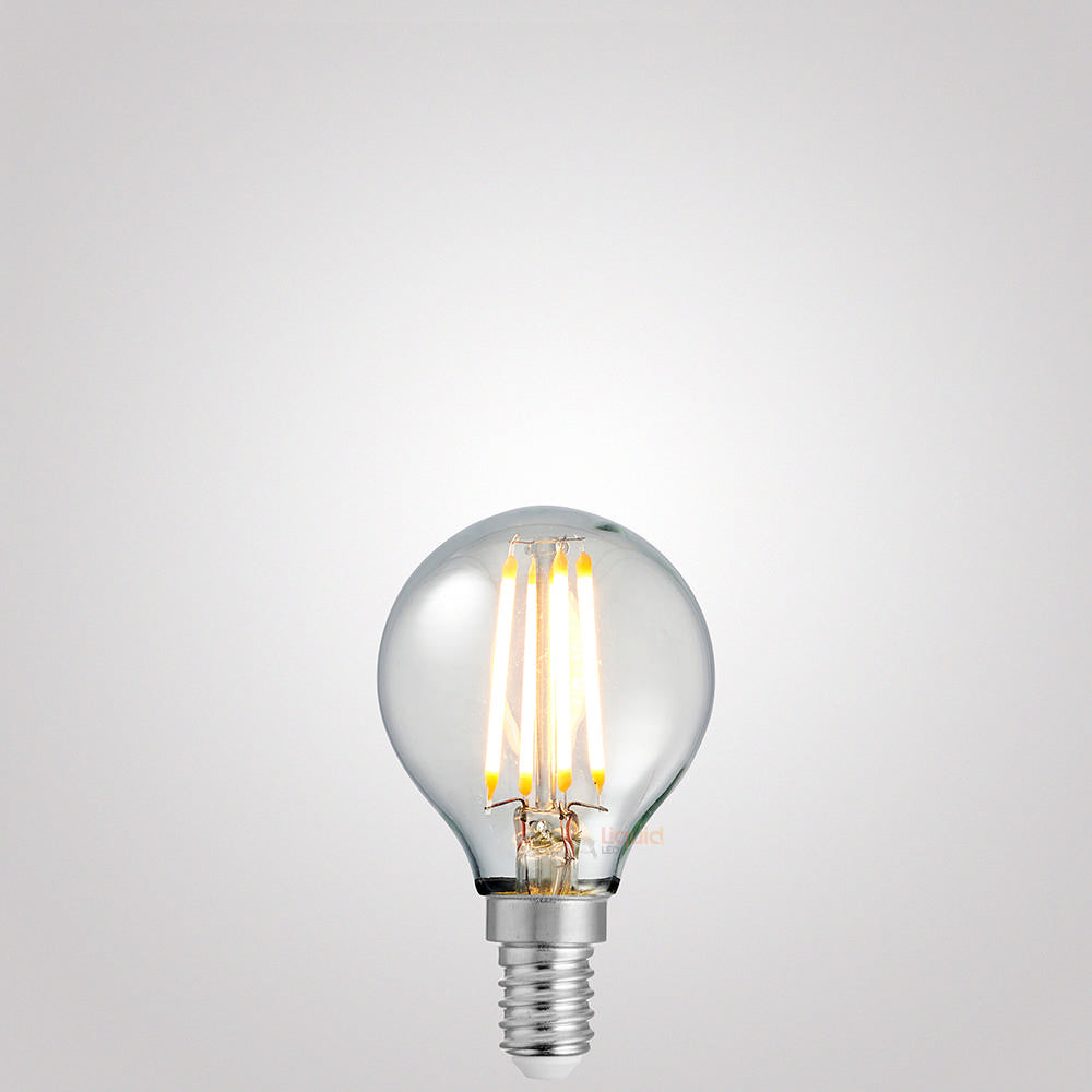 4 Watt Fancy Round Dimmable LED Filament Bulb (E14) Clear