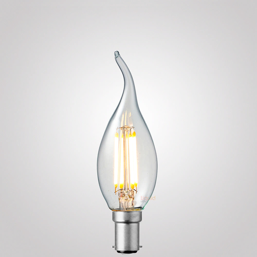 4 Watt Flame Tip Candle Dimmable LED Filament Bulb (B15) Clear Candle Bulbs LiquidLEDs Lighting
