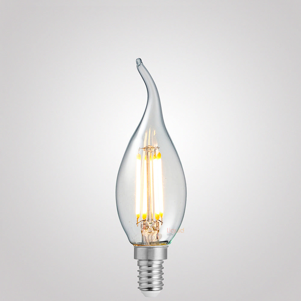 4 Watt Flame Tip Candle Dimmable LED Filament Bulb (E14) Clear