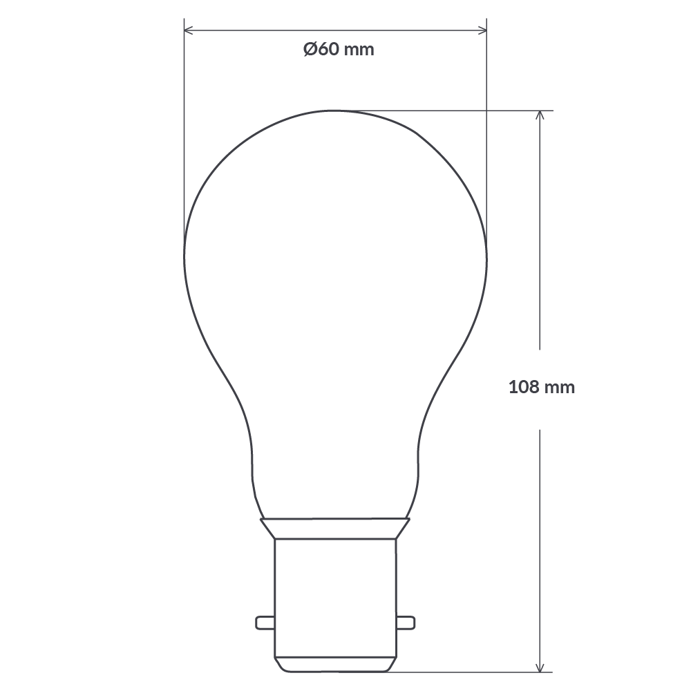 6 Watt GLS Dimmable LED Filament Light Bulb (B22) Clear Traditional Bulbs LiquidLEDs Lighting