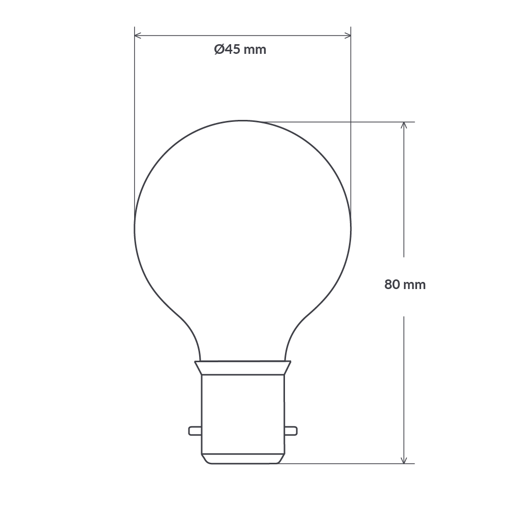 4 Watt Fancy Round Dimmable LED Filament Bulb (B22) Clear Fancy Round LiquidLEDs Lighting