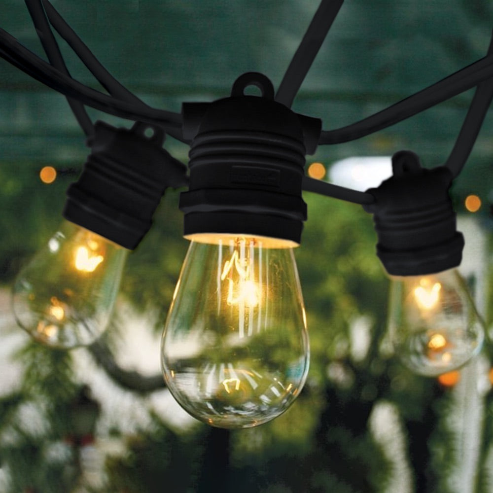 10m Black Festoon String Lights with 10 Bulb 240V