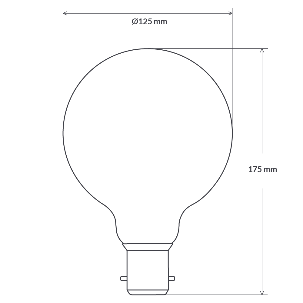 8W G125 Dimmable LED Light Globe (B22) in Extra Warm White