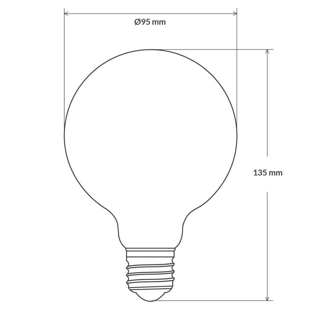 14W G95 Opal Dimmable LED Globe (E27) in Warm White