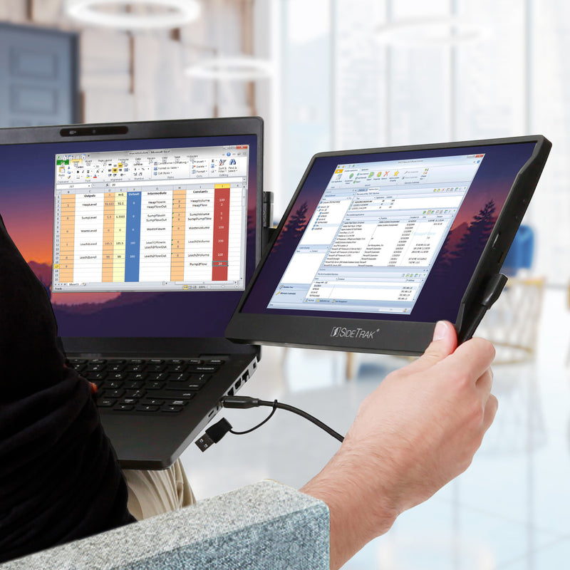 work without a desk and have a dual-screen work setup anywhere with SideTrak Swivel portable monitor