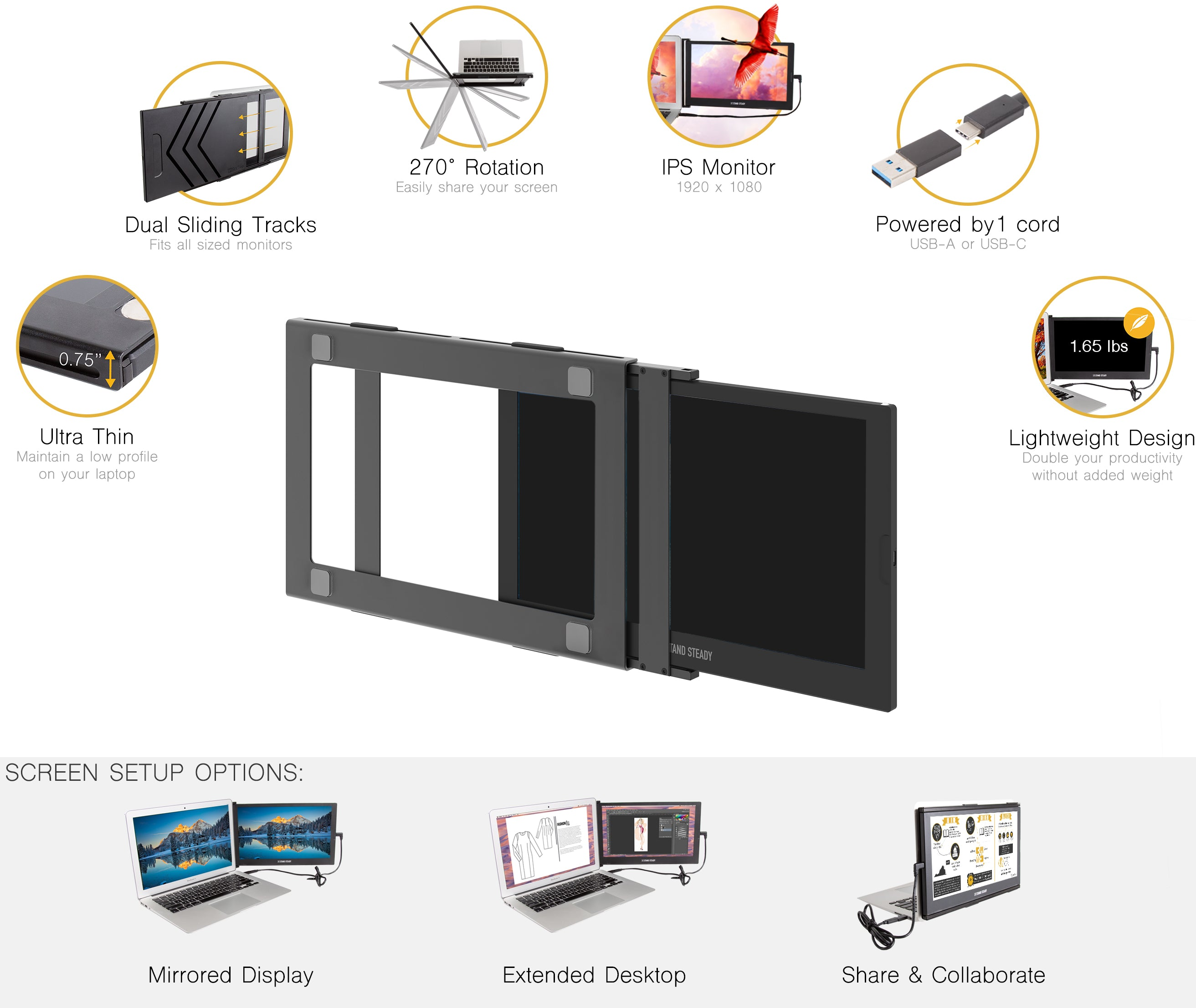 SideTrak portable USB monitor features and benefits