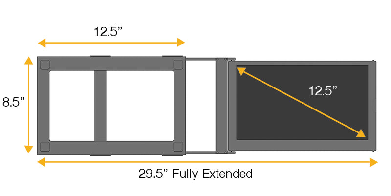 SideTrak screen and frame measurements