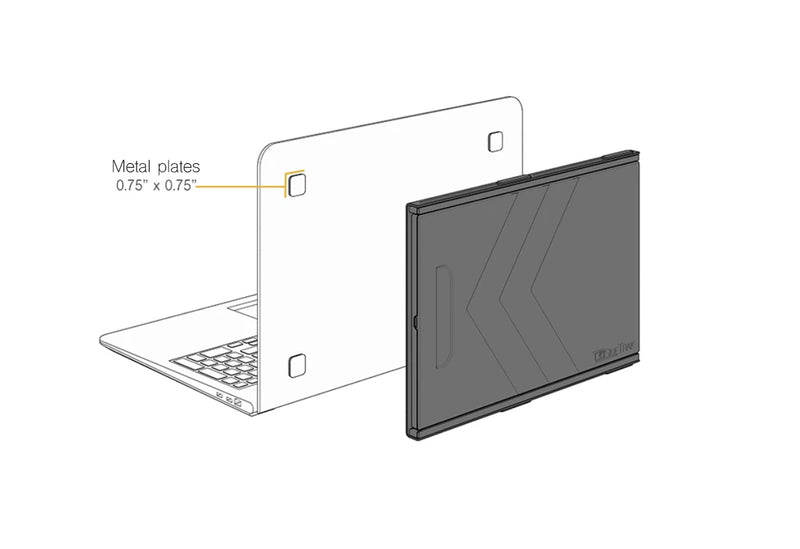size of the metal plates that attach SideTrak portable monitor to your laptop