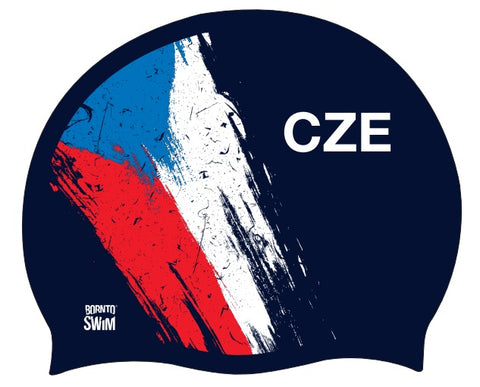 Czech Republic Flag Swim Cap Blue