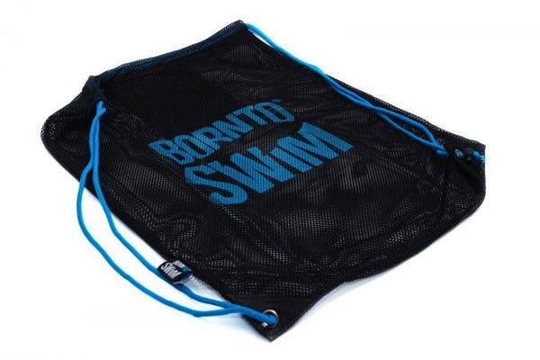 Swim Gear String Mesh Bag - Black with Blue Logo
