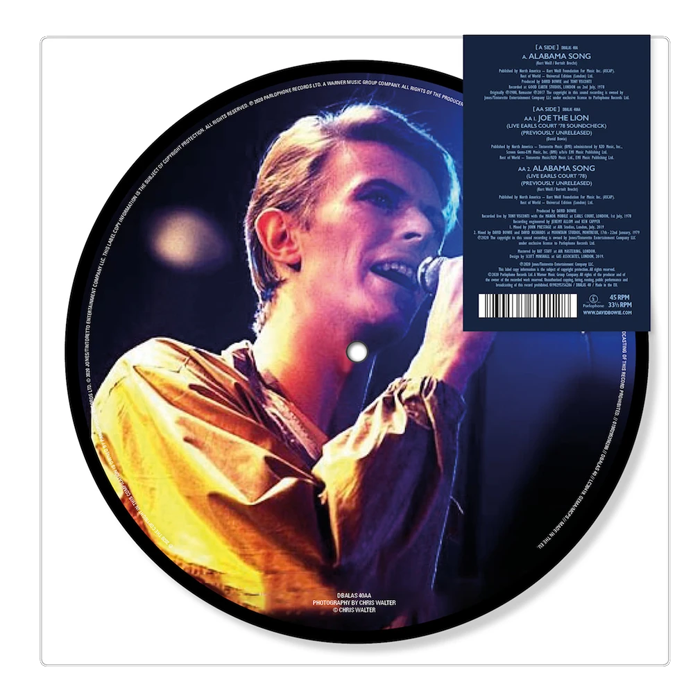 "David Bowie - Alabama Song 7"" Picture Disc Vinyl Record"
