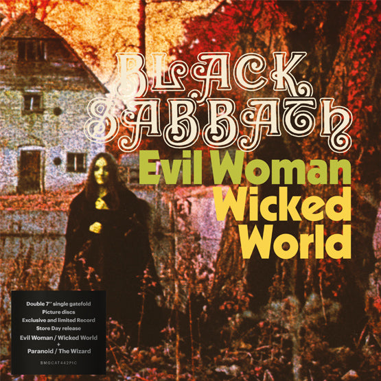 "Black Sabbath - Evil Woman / Wicked World & Paranoid / The Wizard (RSD 2020 Drop One) 2 x 7"" Picture Disc Vinyl Record"