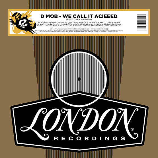 "D-Mob - We Call It Acieeed (Remixes) (RSD 2020 Drop One) 12"" Vinyl Record"