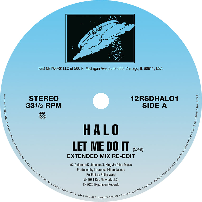 "Halo - Let Me Do It / Life (RSD 2020 Drop One) 12"" Vinyl Record"
