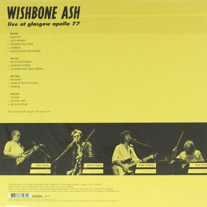 Wishbone Ash ‎– Live at Glasgow Apollo 77 2LP Vinyl Record