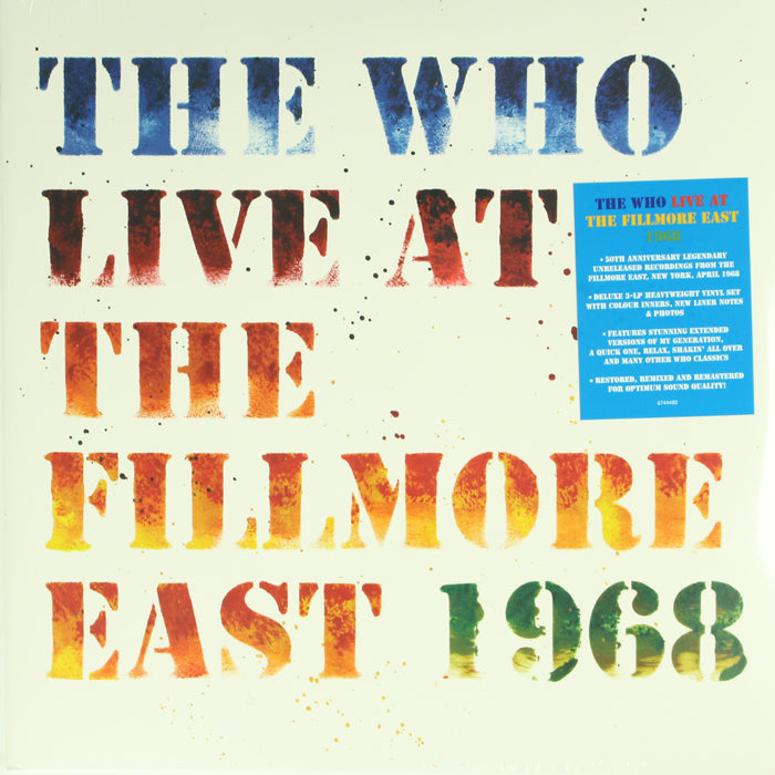 The Who ‎– Live At The Fillmore East 1968 3LP 180g Vinyl Record