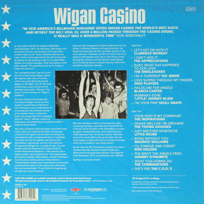 Various ‎– Wigan Casino Soul Club Vinyl Record Compilation