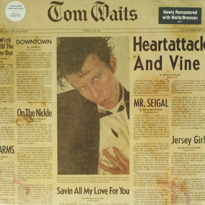 Tom Waits ‎– Heartattack And Vine 180g Clear Colour Vinyl Record Album