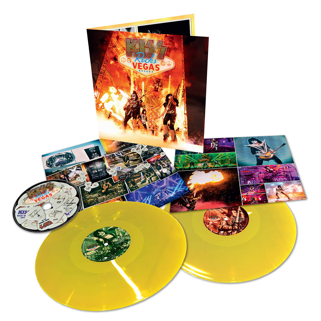 KISS - Rocks Vegas Limited Edition 2LP 180g Yellow Colour Vinyl Record Album + DVD