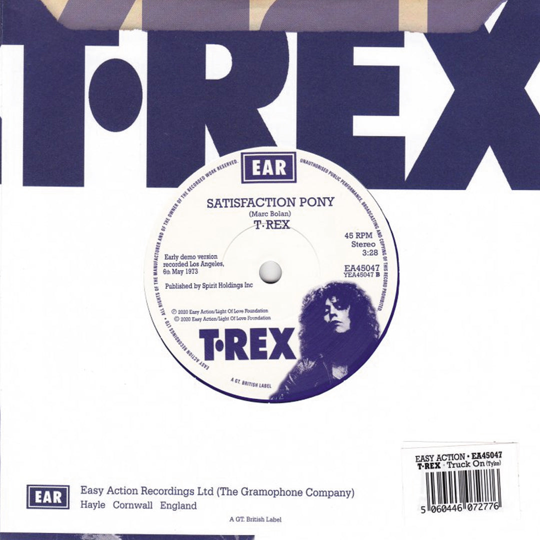 "T.Rex - Truck On (Tyke) Alternative Version Limited Edition 7"" Blue Colour Vinyl Record"